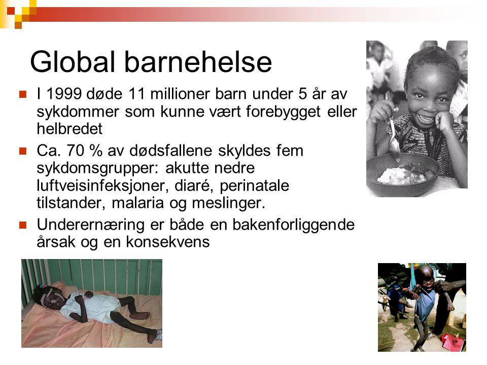 Global barnehelse I 1999 døde 11 millioner barn under 5 år av sykdommer som kunne vært forebygget eller helbredet.