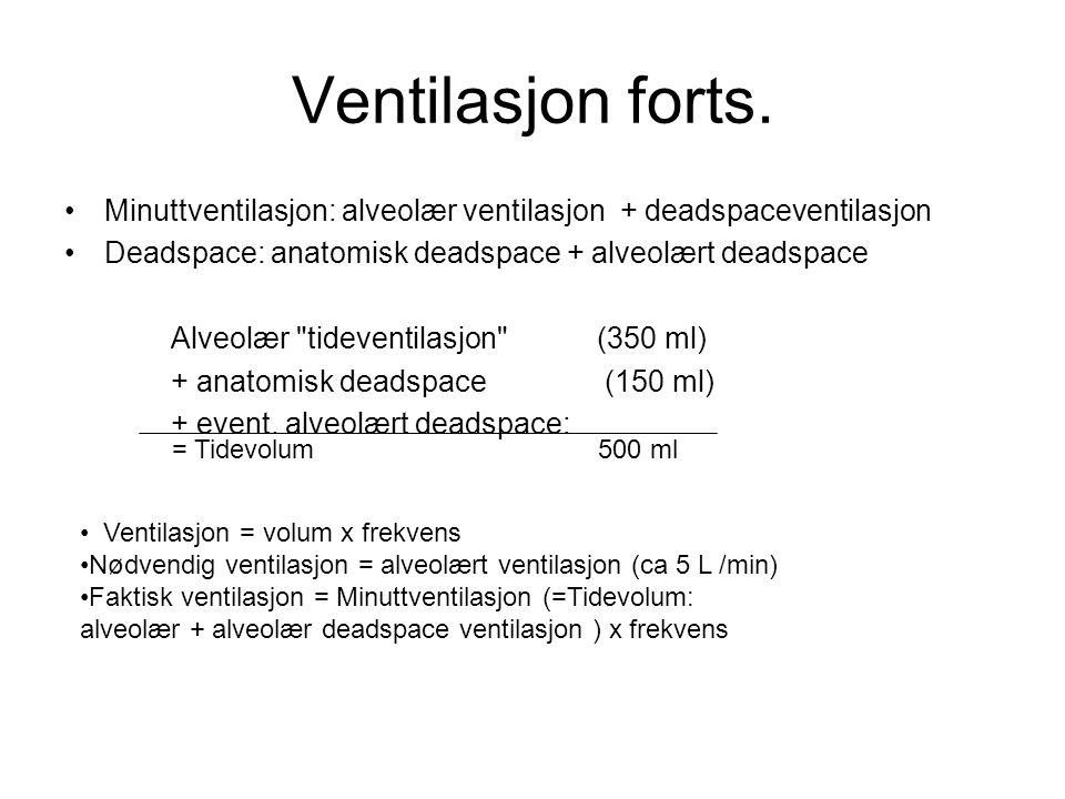 Ventilasjon forts. Minuttventilasjon: alveolær ventilasjon + deadspaceventilasjon. Deadspace: anatomisk deadspace + alveolært deadspace.