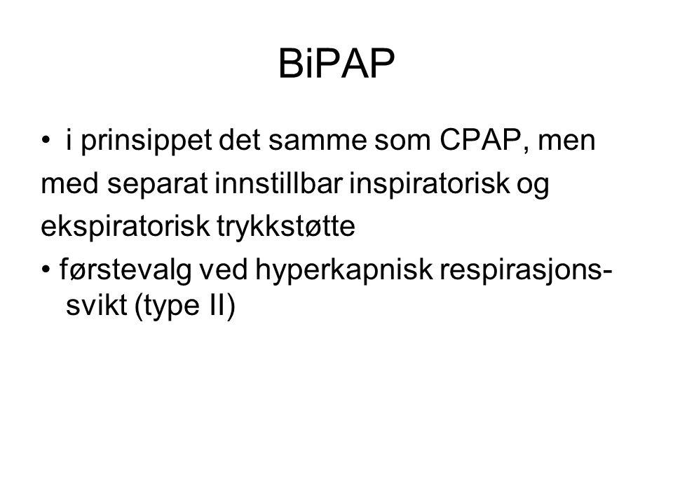 BiPAP i prinsippet det samme som CPAP, men
