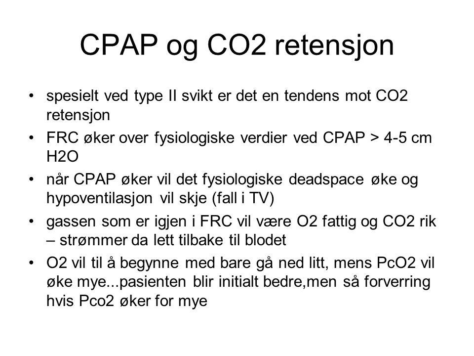 CPAP og CO2 retensjon spesielt ved type II svikt er det en tendens mot CO2 retensjon. FRC øker over fysiologiske verdier ved CPAP > 4-5 cm H2O.
