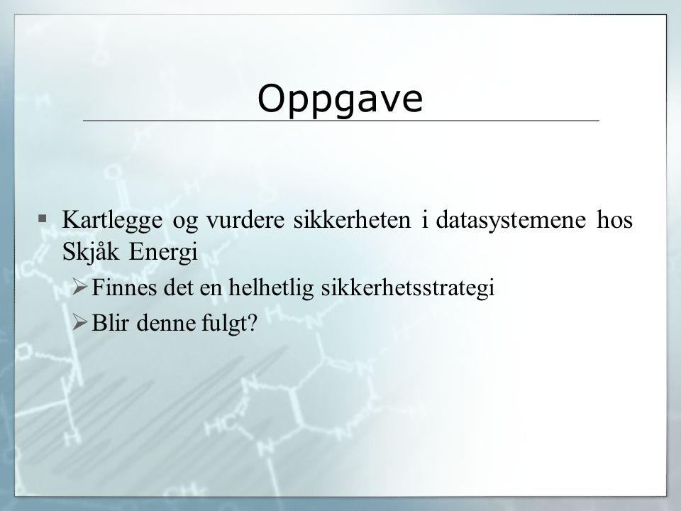 Oppgave Kartlegge og vurdere sikkerheten i datasystemene hos Skjåk Energi. Finnes det en helhetlig sikkerhetsstrategi.