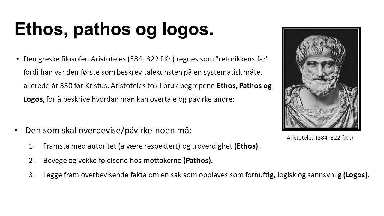 Ethos, pathos og logos. Den som skal overbevise/påvirke noen må: