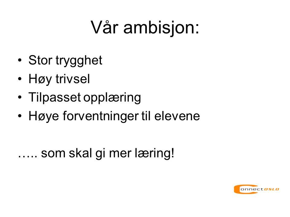 Vår ambisjon: Stor trygghet Høy trivsel Tilpasset opplæring
