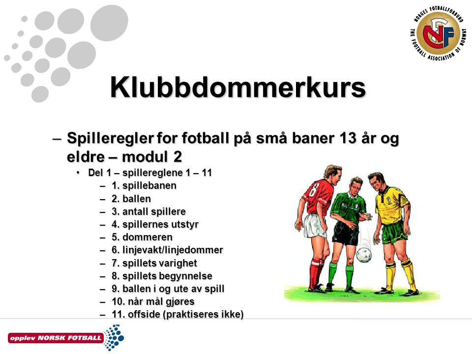 Klubbdommerkurs Spilleregler for fotball på små baner 13 år og eldre – modul 2. Del 1 – spillereglene 1 – 11.
