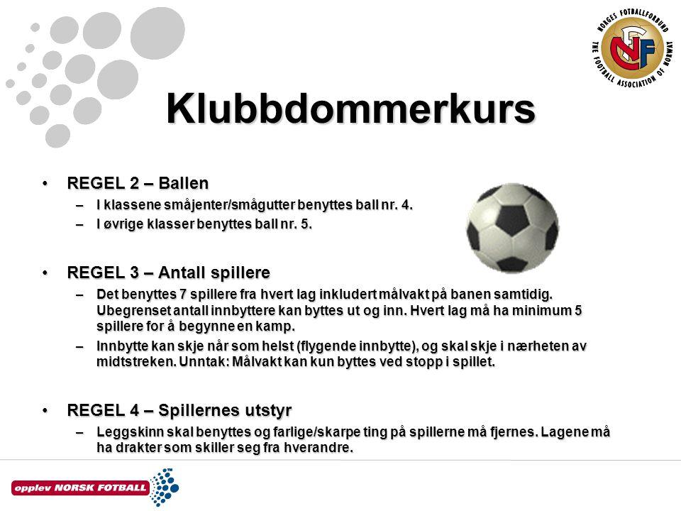 Klubbdommerkurs REGEL 2 – Ballen REGEL 3 – Antall spillere