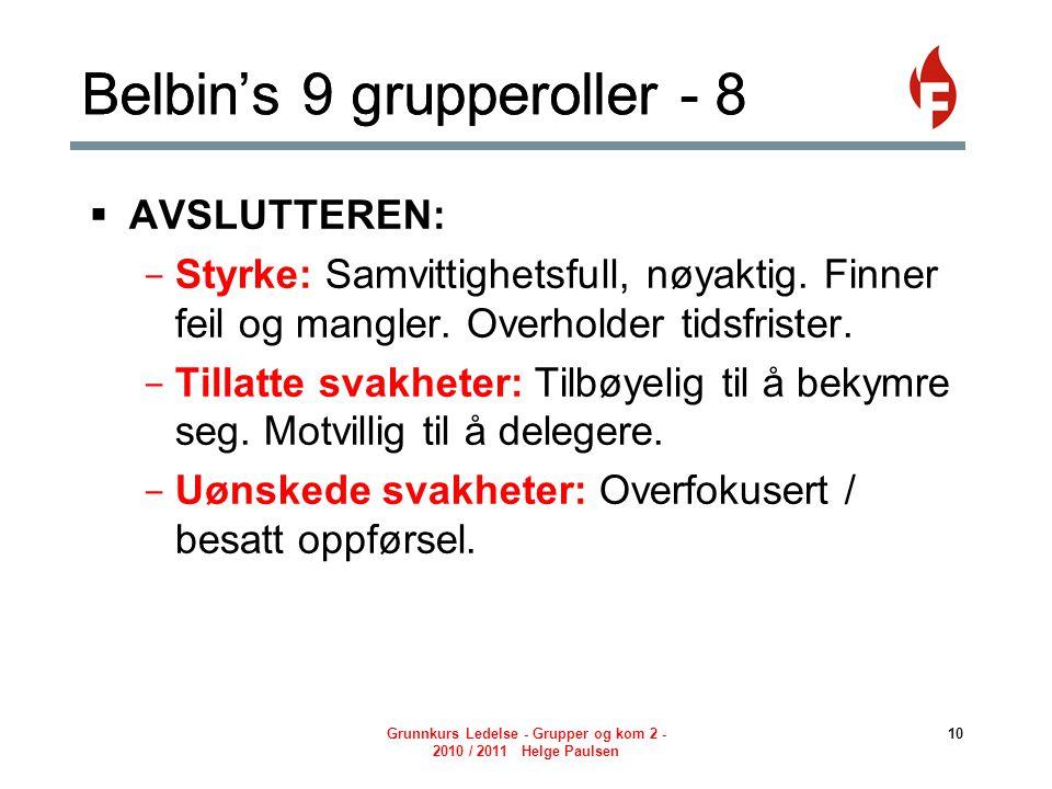 Belbin's 9 grupperoller - 8