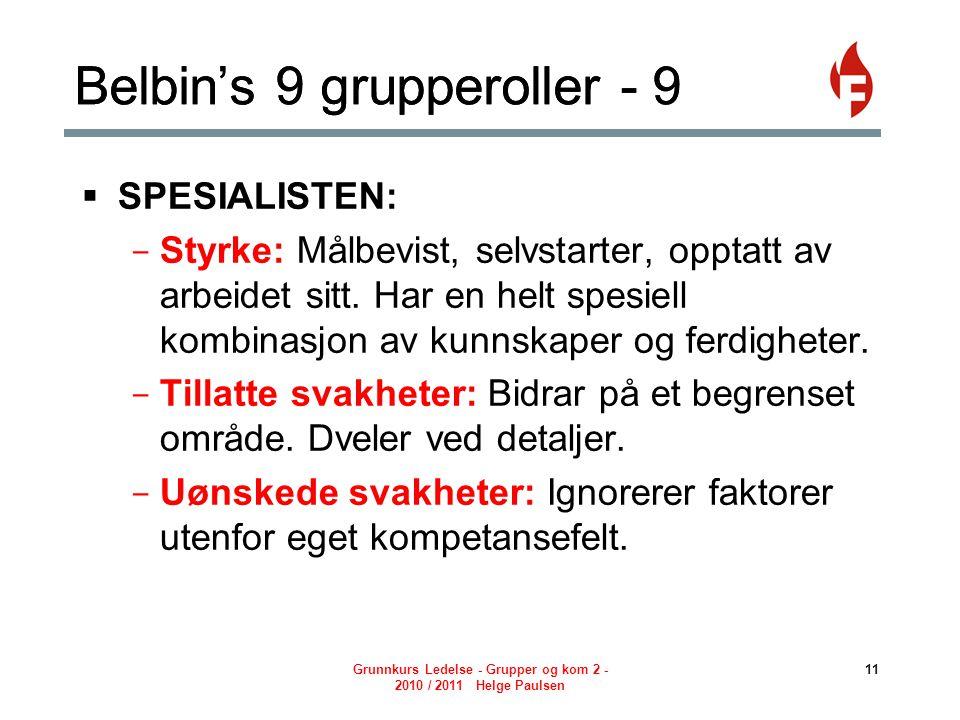 Belbin's 9 grupperoller - 9