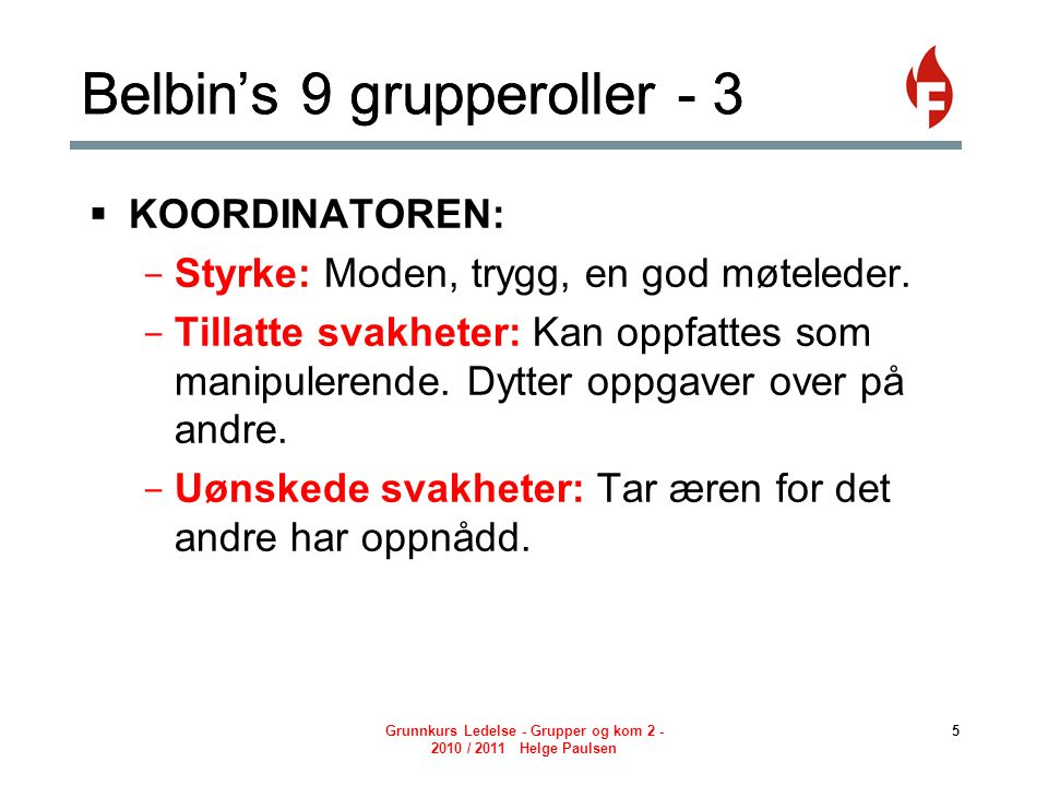 Belbin's 9 grupperoller - 3