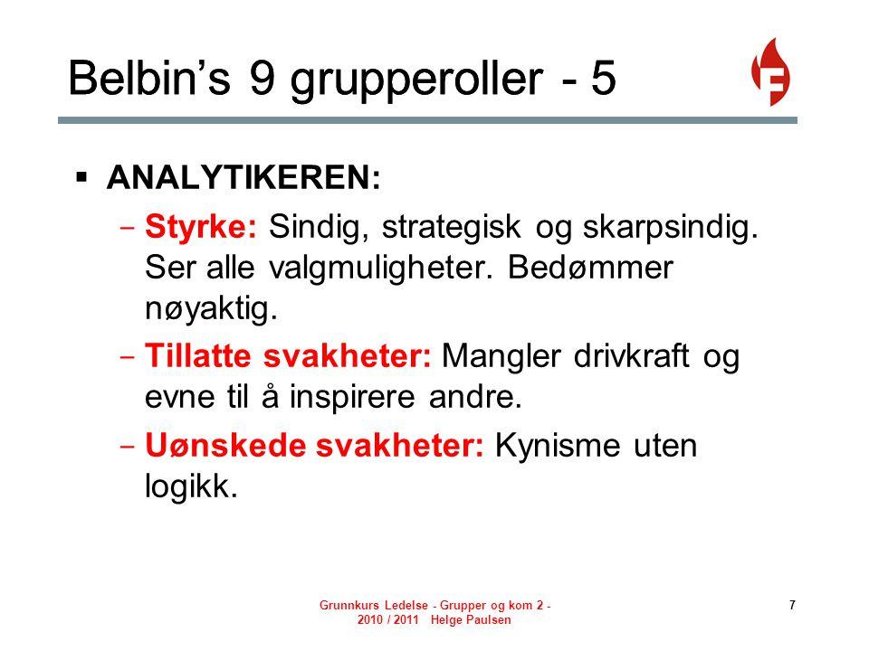 Belbin's 9 grupperoller - 5