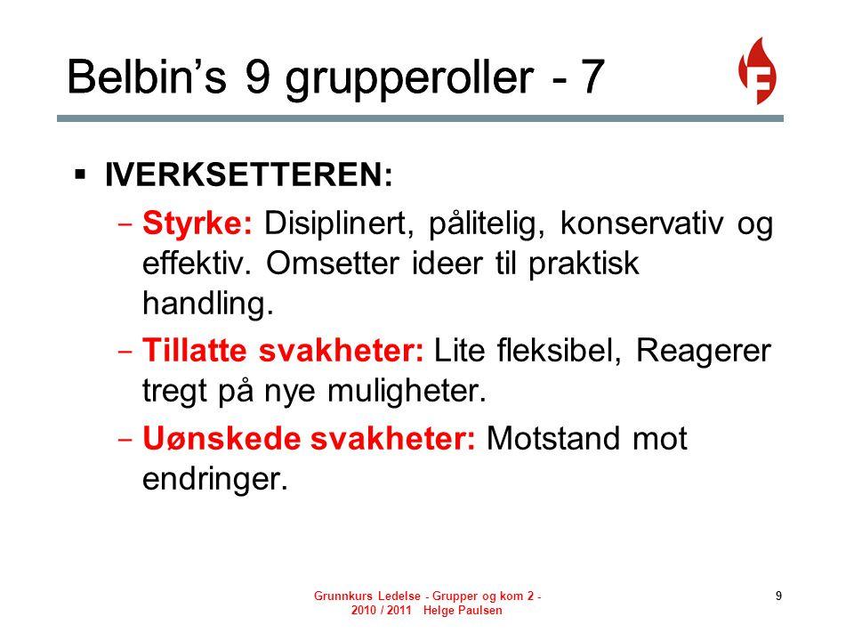 Belbin's 9 grupperoller - 7