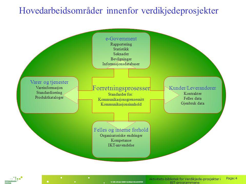 Hovedarbeidsområder innenfor verdikjedeprosjekter