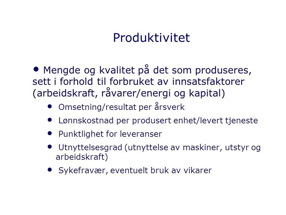 Produktivitet Mengde og kvalitet på det som produseres, sett i forhold til forbruket av innsatsfaktorer (arbeidskraft, råvarer/energi og kapital)