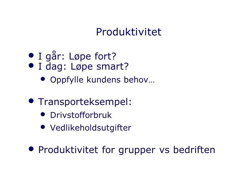 Produktivitet I går: Løpe fort I dag: Løpe smart Transporteksempel: