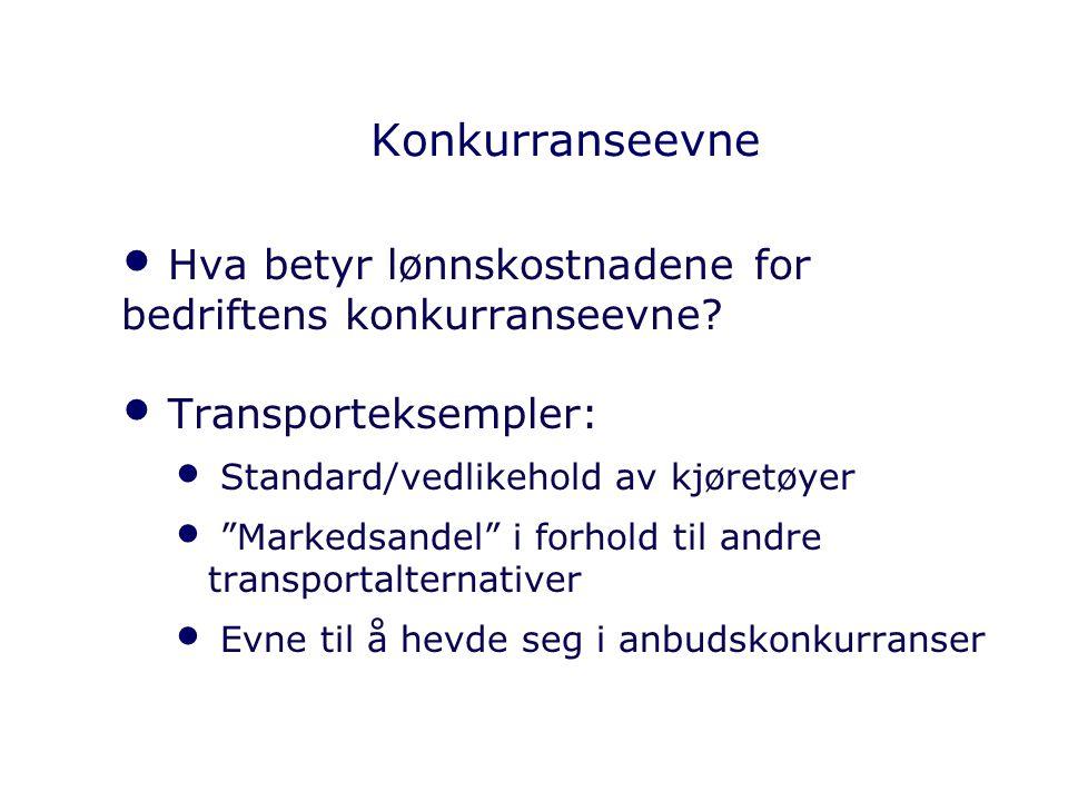 Konkurranseevne Hva betyr lønnskostnadene for bedriftens konkurranseevne Transporteksempler: Standard/vedlikehold av kjøretøyer.