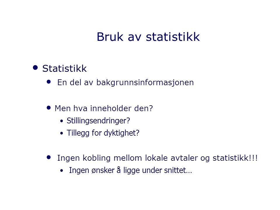 Bruk av statistikk Statistikk En del av bakgrunnsinformasjonen