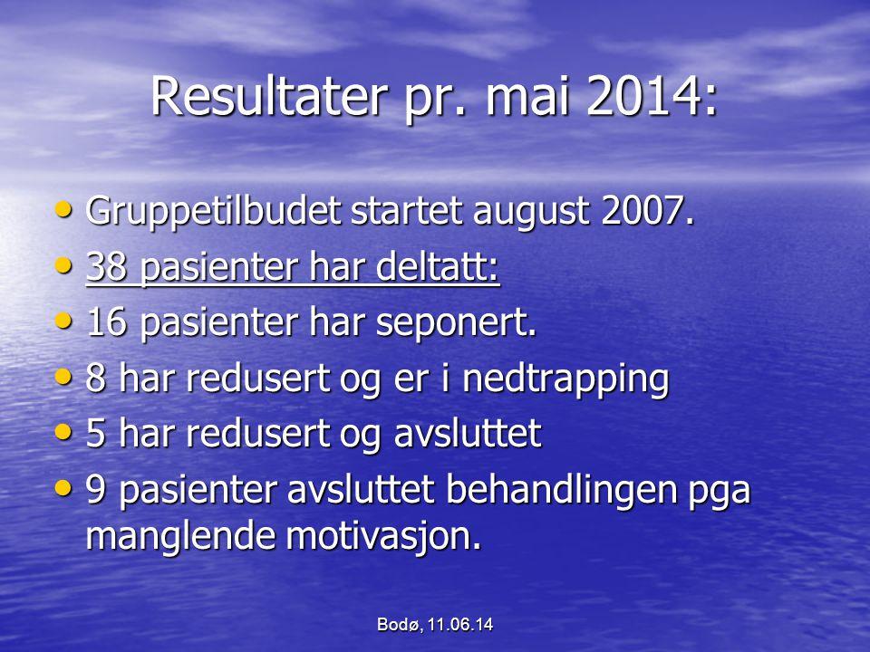 Resultater pr. mai 2014: Gruppetilbudet startet august 2007.