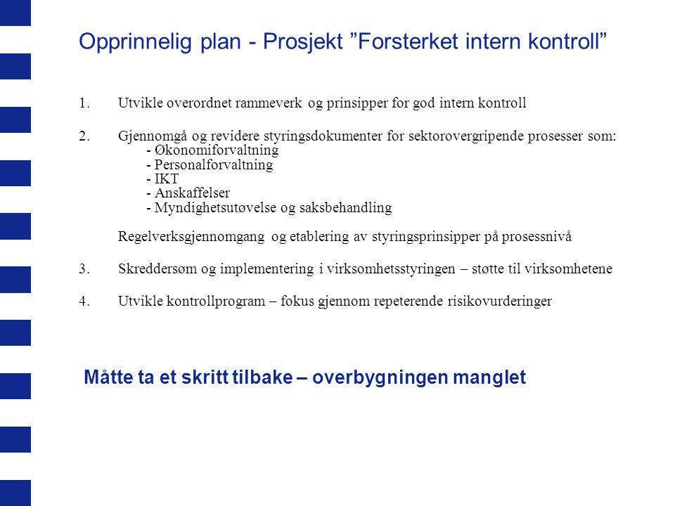 Opprinnelig plan - Prosjekt Forsterket intern kontroll