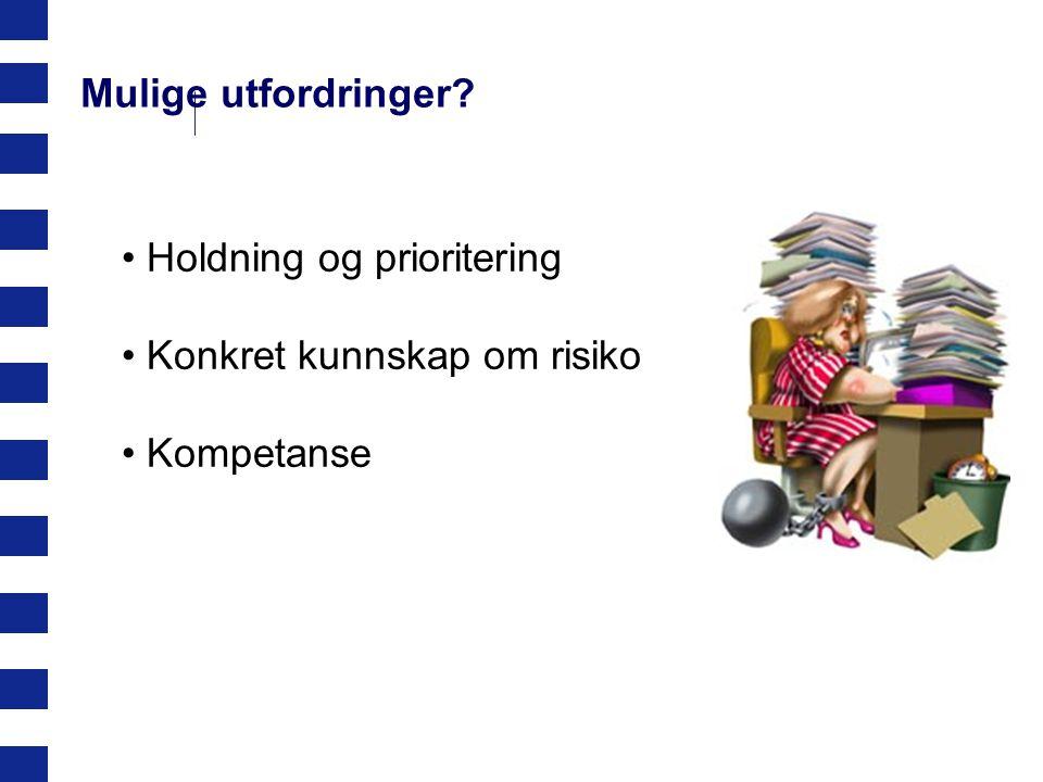 Holdning og prioritering Konkret kunnskap om risiko Kompetanse