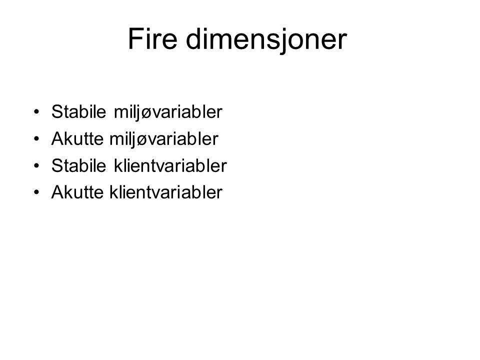 Fire dimensjoner Stabile miljøvariabler Akutte miljøvariabler