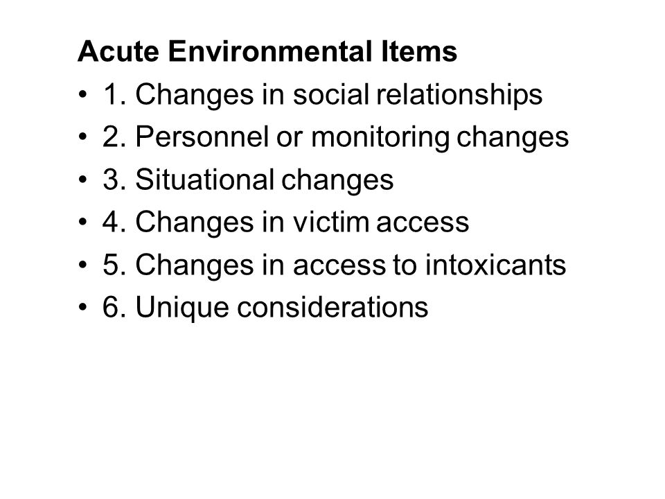 Acute Environmental Items
