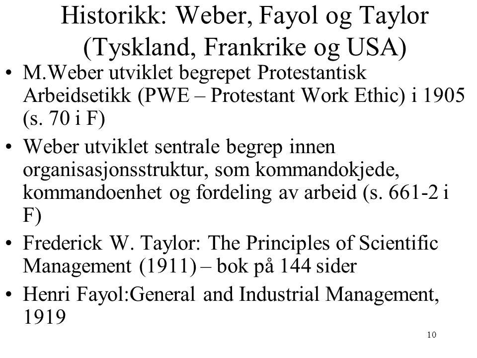 Historikk: Weber, Fayol og Taylor (Tyskland, Frankrike og USA)