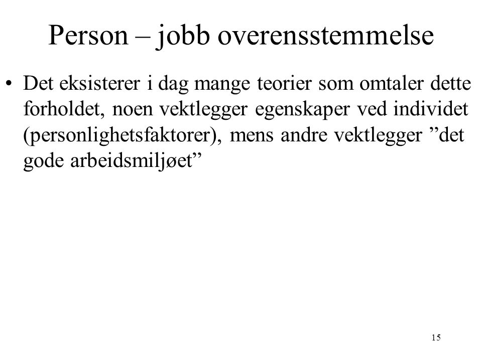 Person – jobb overensstemmelse