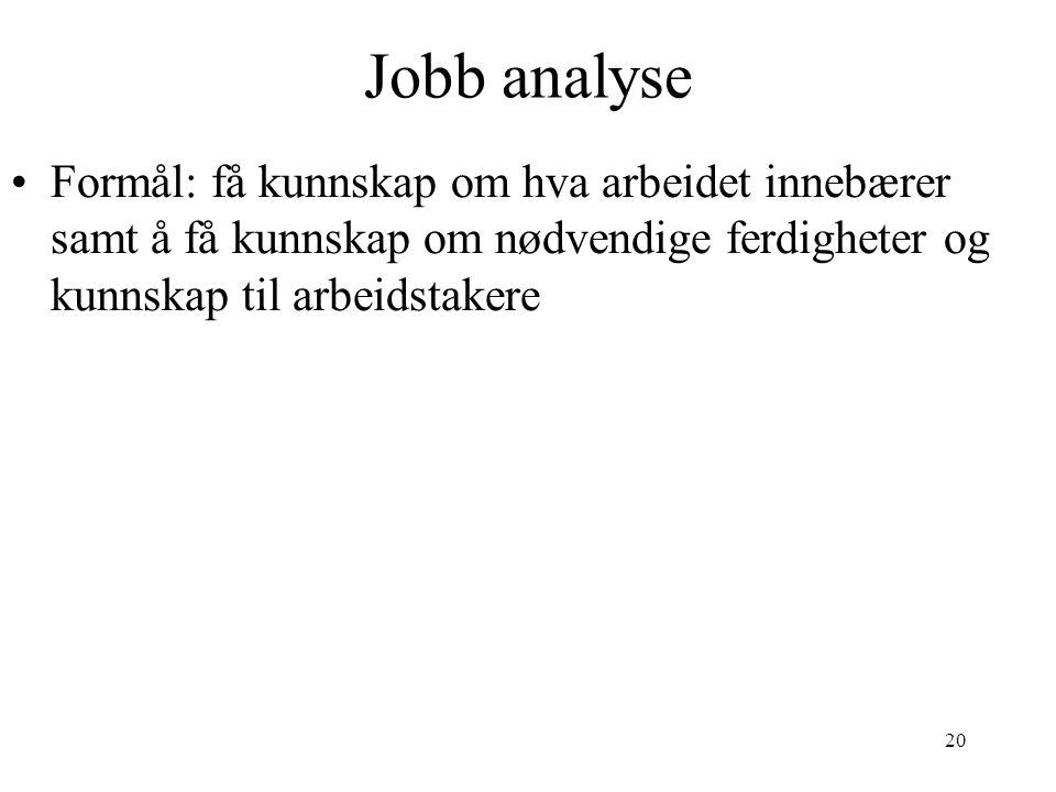 Jobb analyse Formål: få kunnskap om hva arbeidet innebærer samt å få kunnskap om nødvendige ferdigheter og kunnskap til arbeidstakere.