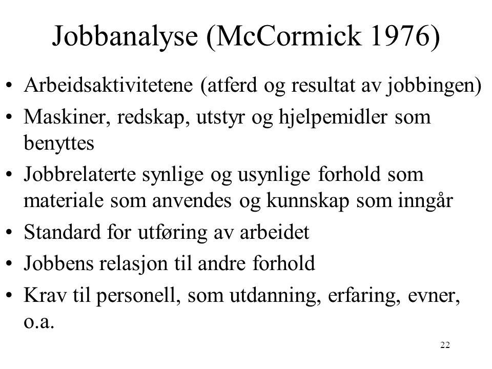 Jobbanalyse (McCormick 1976)