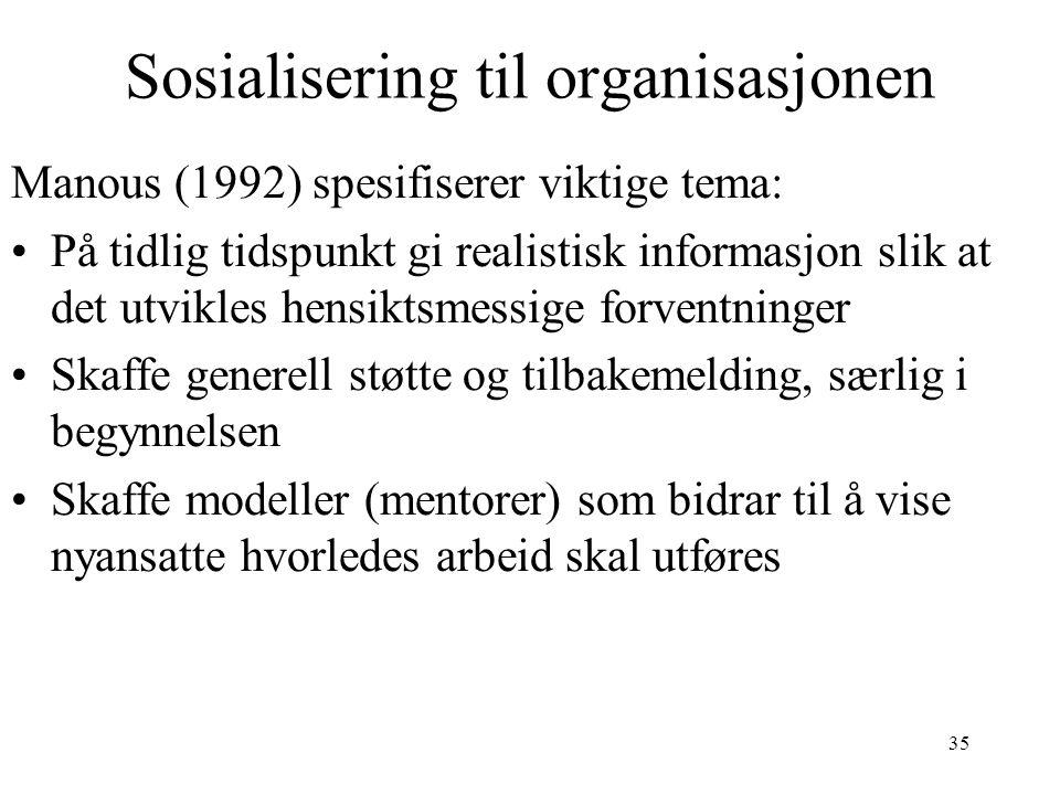 Sosialisering til organisasjonen