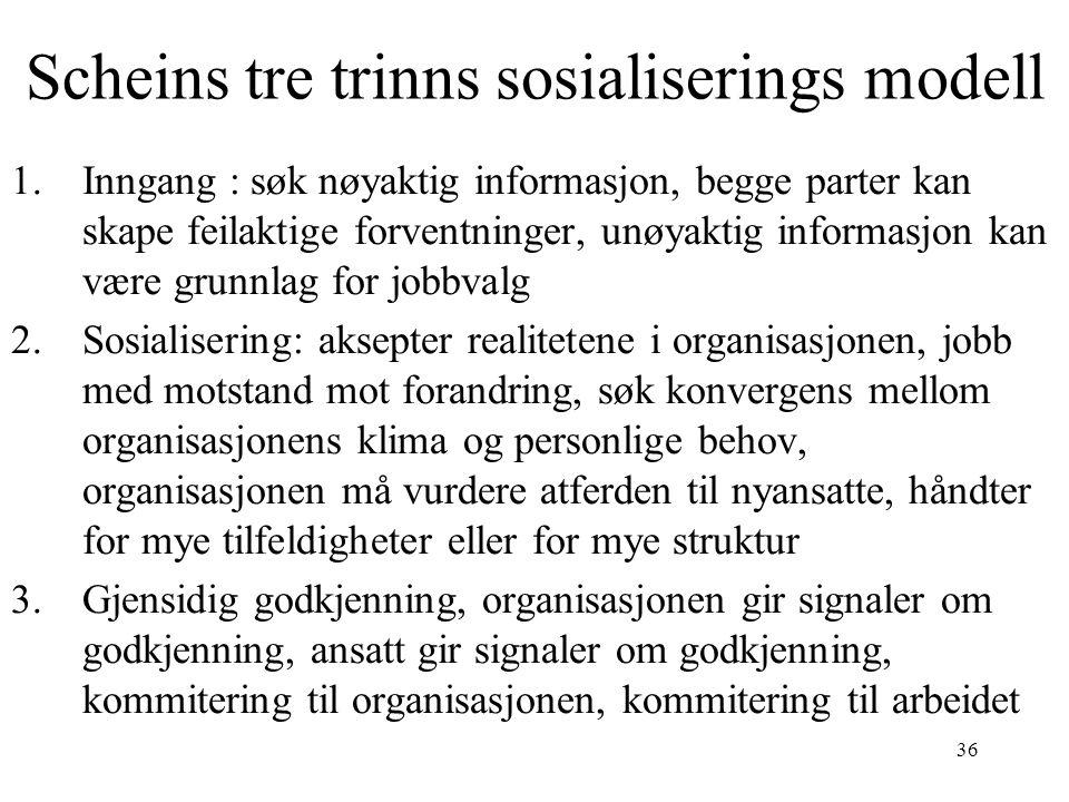 Scheins tre trinns sosialiserings modell