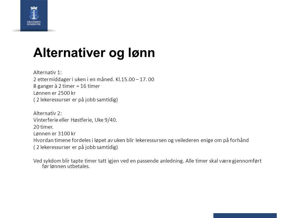 Alternativer og lønn Alternativ 1: