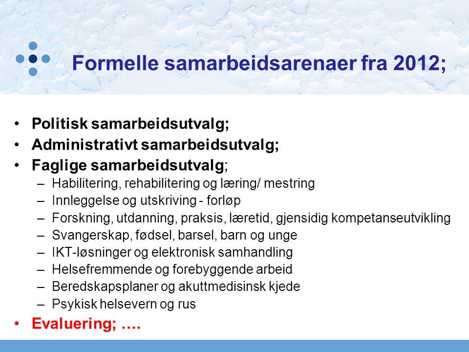 Formelle samarbeidsarenaer fra 2012;