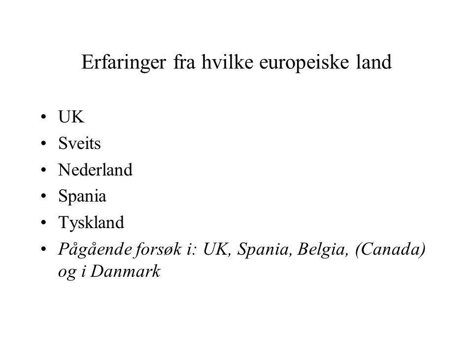 Erfaringer fra hvilke europeiske land