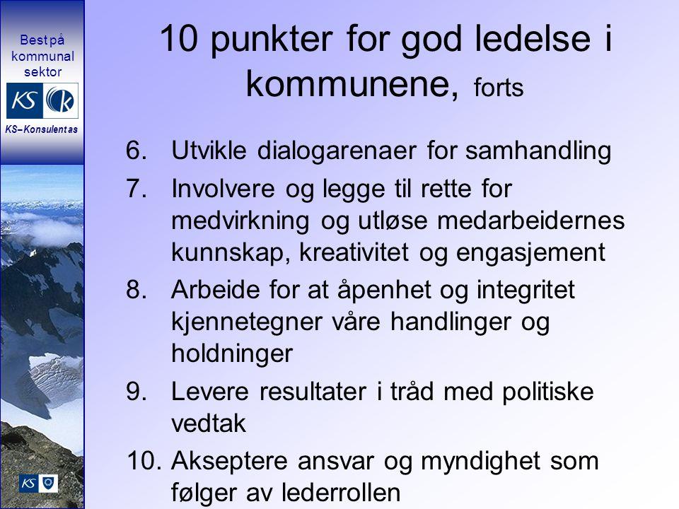 10 punkter for god ledelse i kommunene, forts