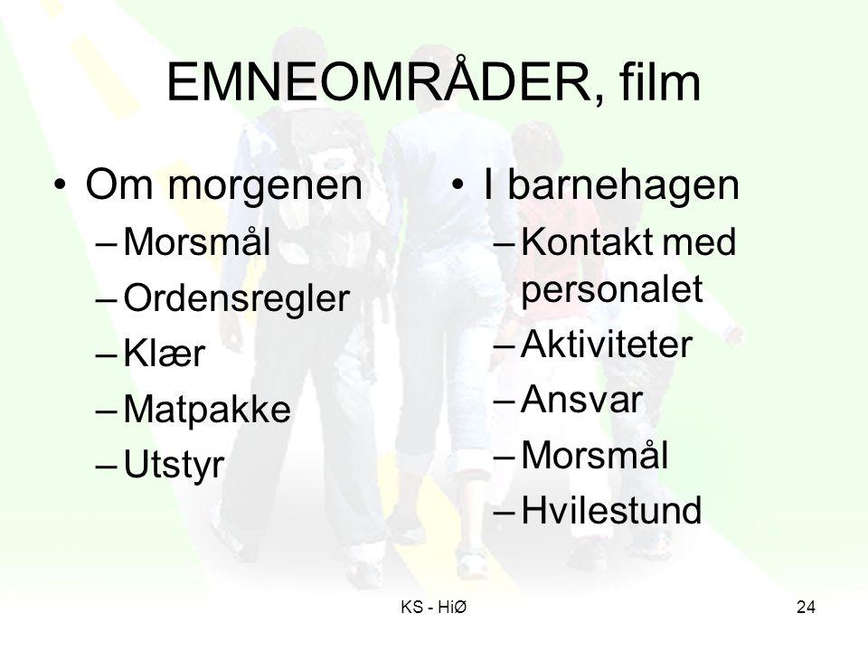 EMNEOMRÅDER, film Om morgenen I barnehagen Morsmål Ordensregler Klær