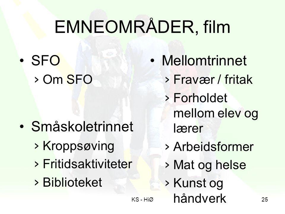 EMNEOMRÅDER, film SFO Småskoletrinnet Mellomtrinnet Om SFO Kroppsøving