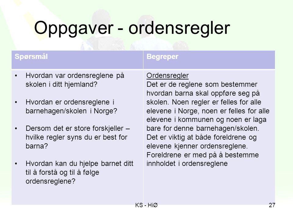 Oppgaver - ordensregler