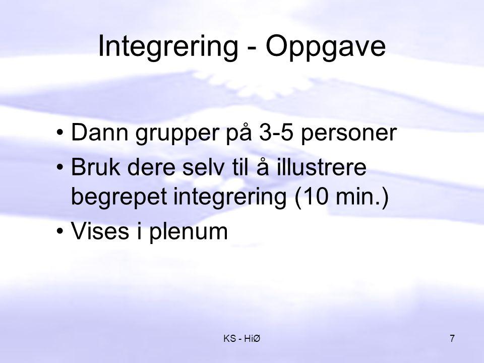 Integrering - Oppgave Dann grupper på 3-5 personer