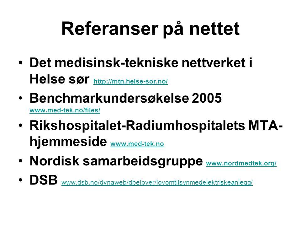 Referanser på nettet Det medisinsk-tekniske nettverket i Helse sør http://mtn.helse-sor.no/ Benchmarkundersøkelse 2005 www.med-tek.no/files/