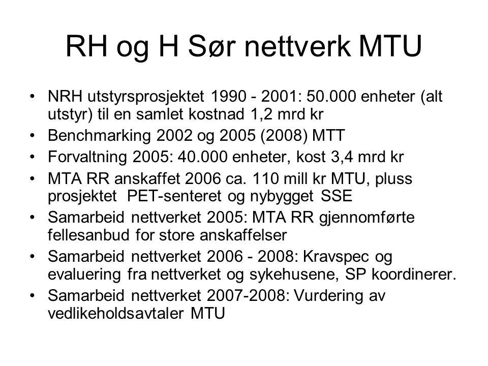 RH og H Sør nettverk MTU NRH utstyrsprosjektet 1990 - 2001: 50.000 enheter (alt utstyr) til en samlet kostnad 1,2 mrd kr.