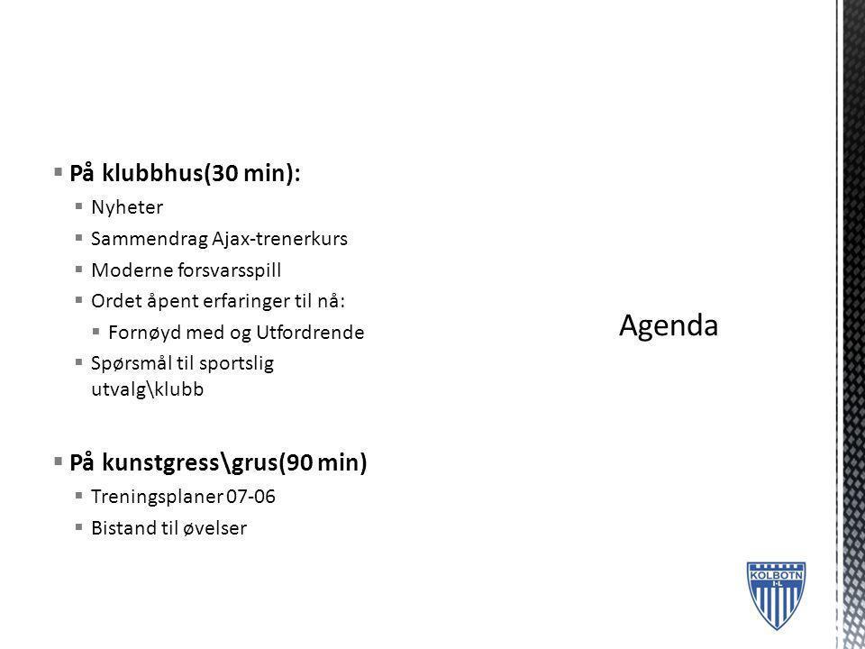 Agenda På klubbhus(30 min): På kunstgress\grus(90 min) Nyheter