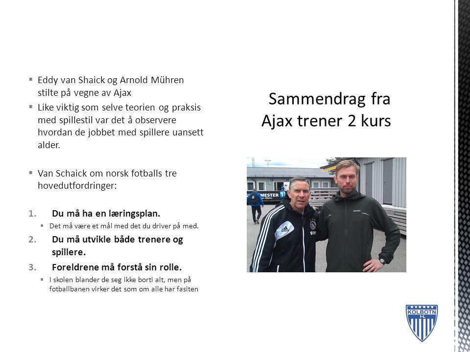 Sammendrag fra Ajax trener 2 kurs