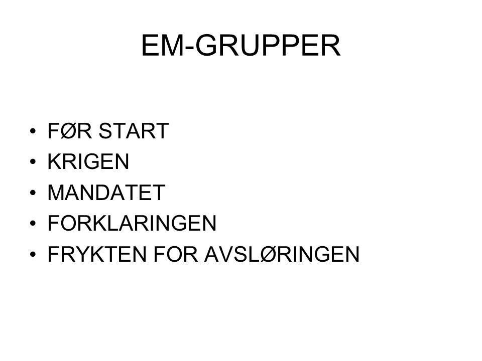 EM-GRUPPER FØR START KRIGEN MANDATET FORKLARINGEN