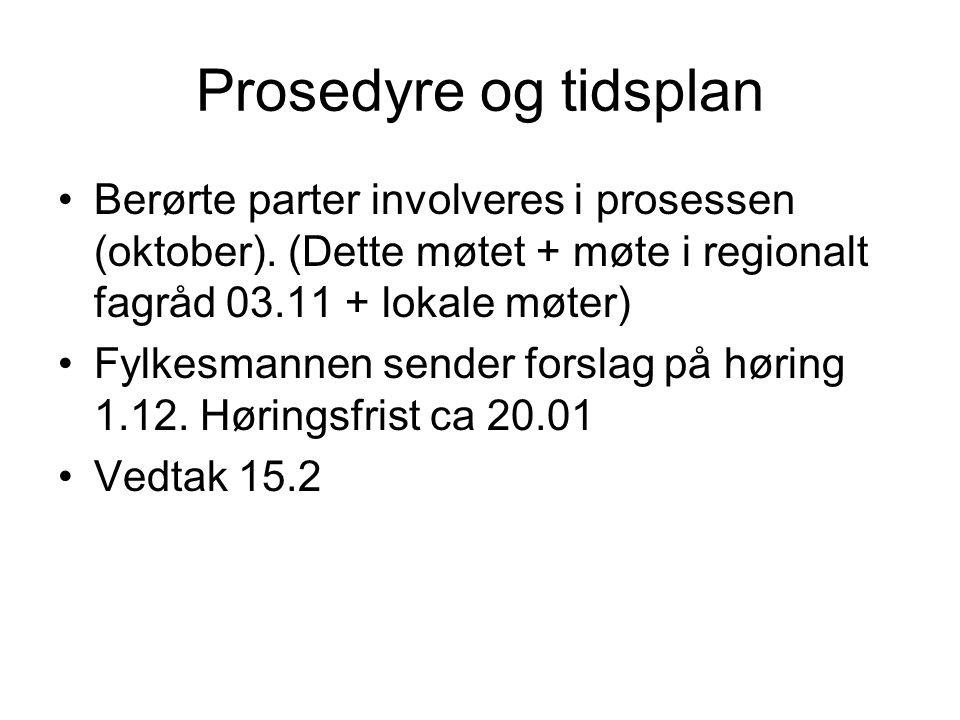 Prosedyre og tidsplan Berørte parter involveres i prosessen (oktober). (Dette møtet + møte i regionalt fagråd 03.11 + lokale møter)