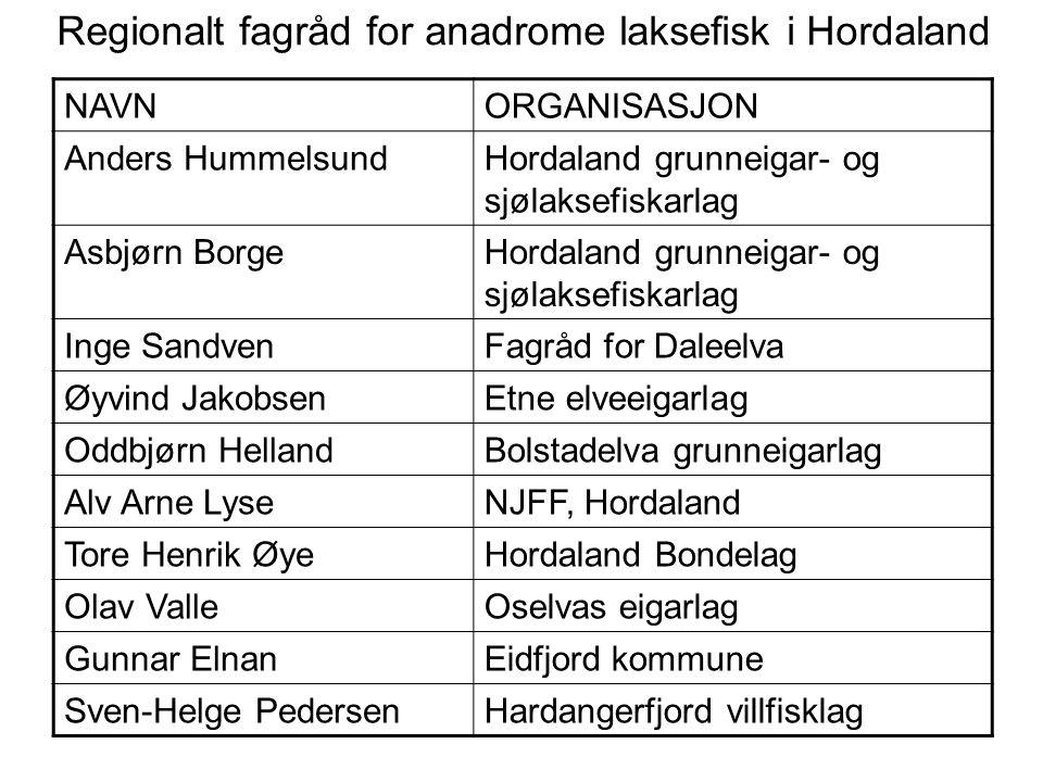 Regionalt fagråd for anadrome laksefisk i Hordaland