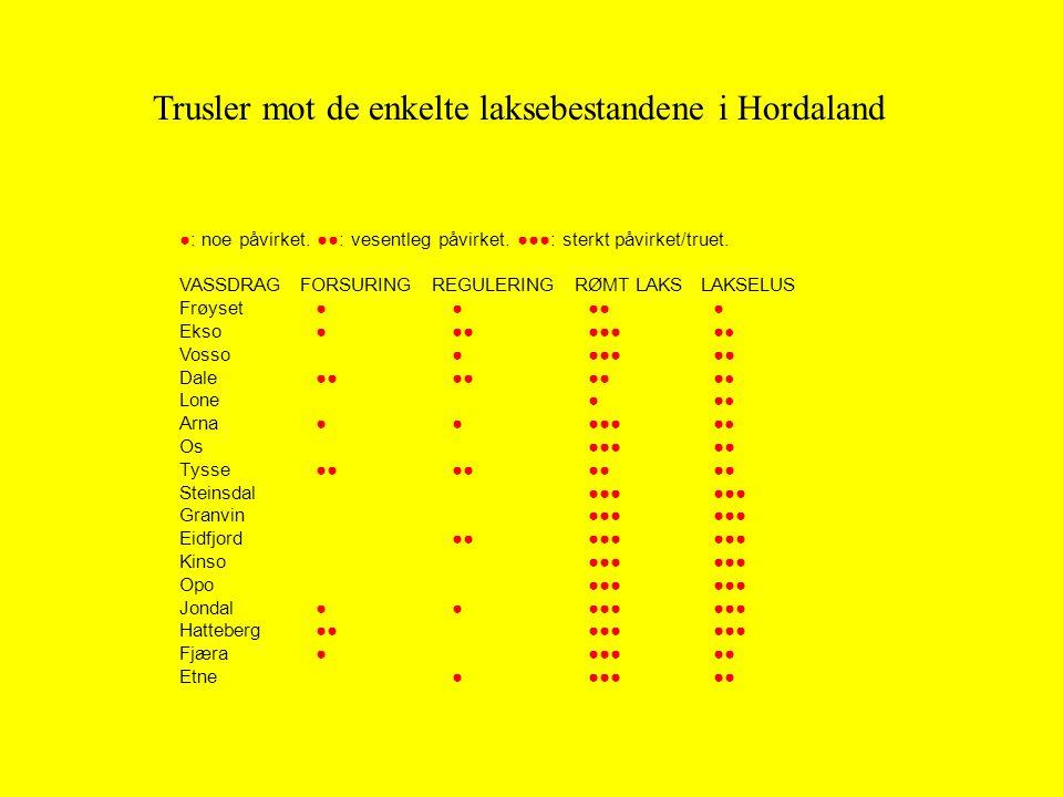 Trusler mot de enkelte laksebestandene i Hordaland