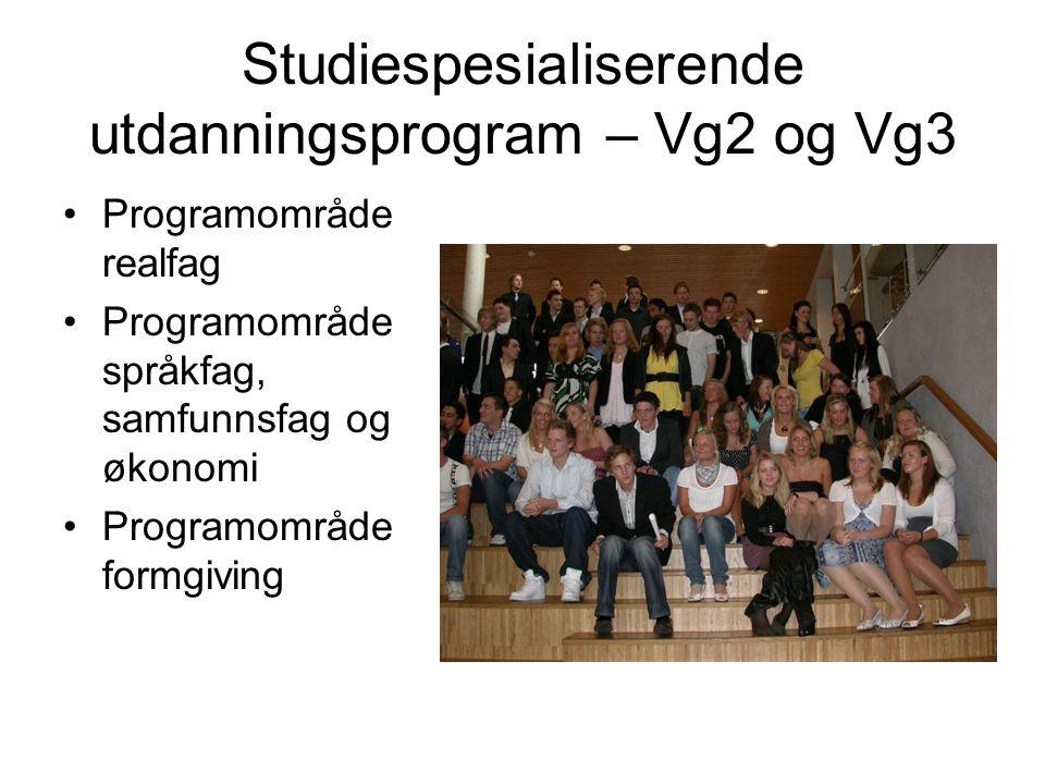 Studiespesialiserende utdanningsprogram – Vg2 og Vg3