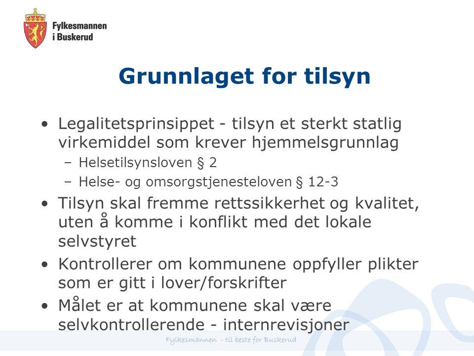 Grunnlaget for tilsyn Legalitetsprinsippet - tilsyn et sterkt statlig virkemiddel som krever hjemmelsgrunnlag.