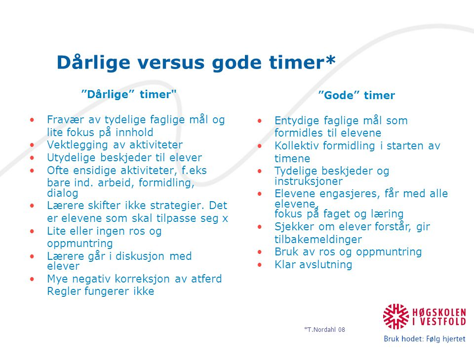Dårlige versus gode timer*