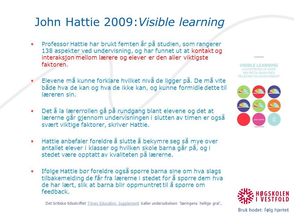 John Hattie 2009:Visible learning